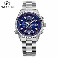 NAKZEN Business Blue Men Wirst Watch Deportes Relojes de Cuarzo de Acero Inoxidable Impermeable 10Bar Male Edifice Reloj Relogio Masculino
