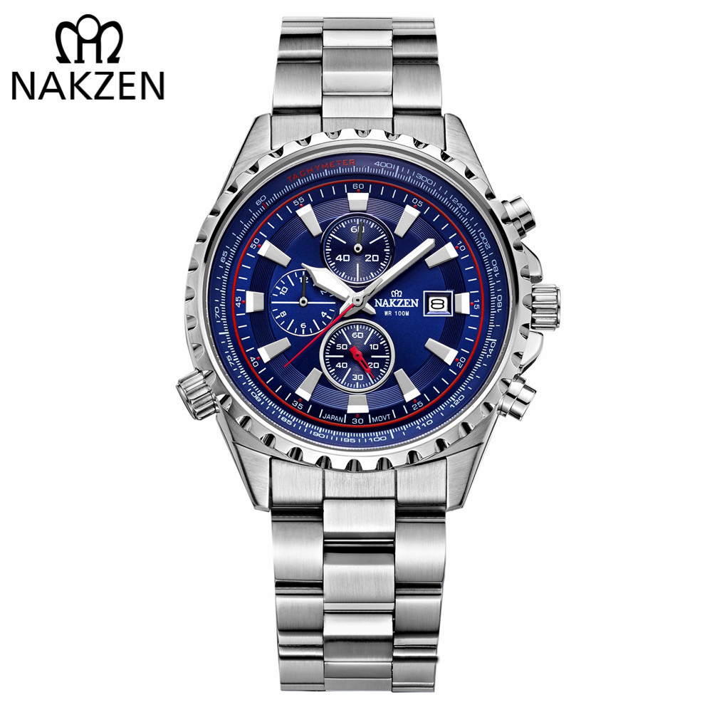 NAKZEN Business Blue Men Wirst Watch Sports Stainless Steel Quartz Watches Waterproof 10Bar Male Edifice Watch Relogio Masculino