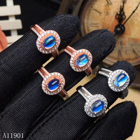 KJJEAXCMY boutique jewelry 925 sterling silver inlaid natural blue MOONSTONE GEMSTONE ring support detection