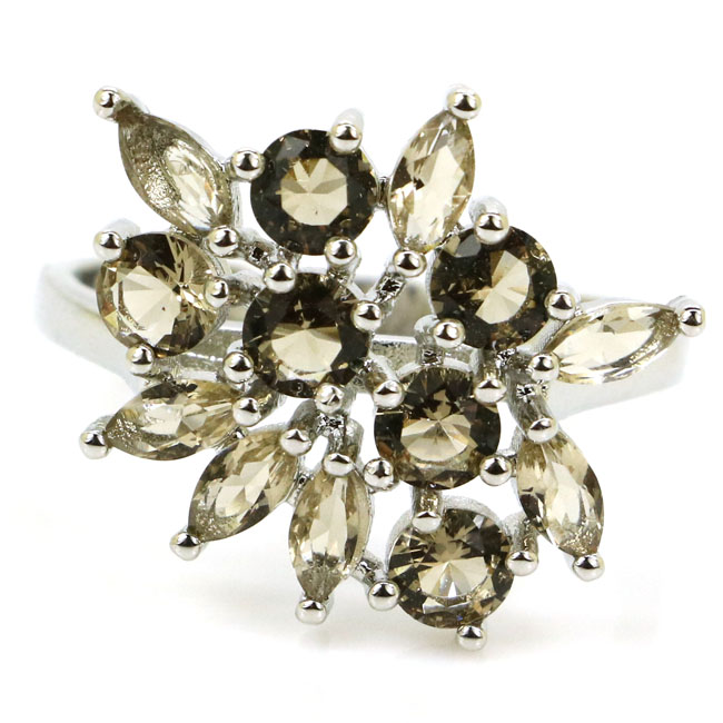 7.75# New Arrival Smokey Quartz Woman's Wedding SheCrown 925 Silver Ring 21x17mm