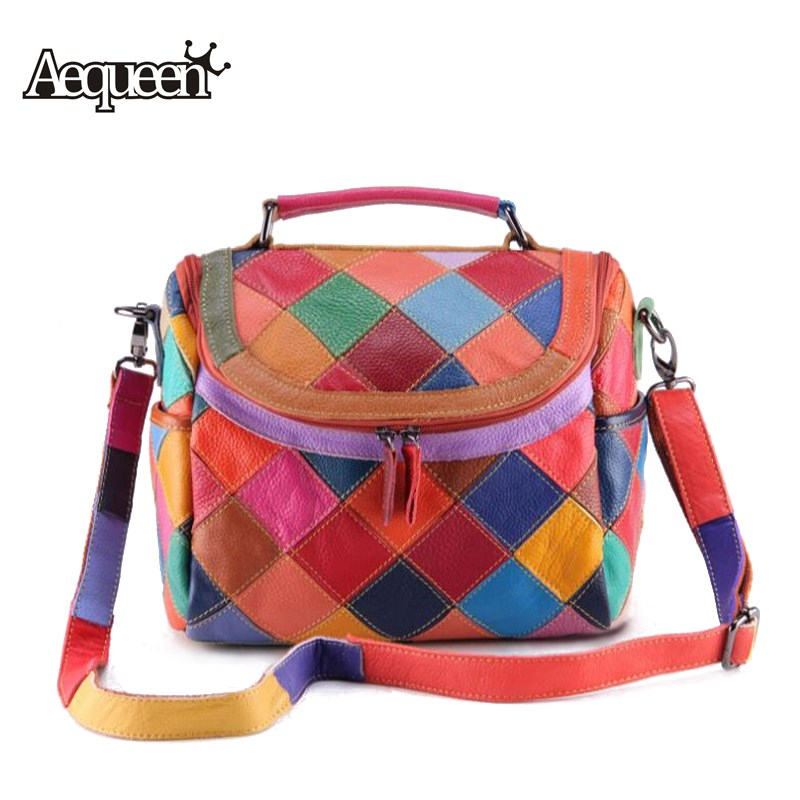 AEQUEEN Genuine Leather Women Handbags Patchwork Shoulder Bags Ladies Tote Colorful Zipper Trunk Crossbody Bag Random Color genuine leather women striped handbags patchwork lady shoulder crossbody bag brand design colorful stripe sling bag random color