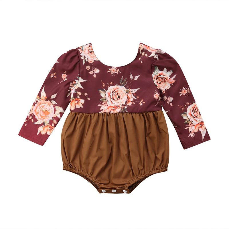 9350d772f507 Pudcoco Newborn Toddler Baby Girl Flower Long Sleeve Romper Jumpsuit ...