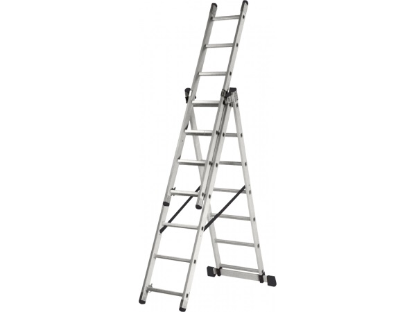 Aluminum staircase Three-section KRATON 196/307/393, 8,9 kg 3x7 st. stepladder steel kraton painted with aluminum steps 60cm 3 95kg 3st
