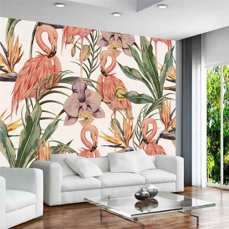 Simple tropical rain forest flamingo background wall professional production mural wholesale wallpaper mural poster photo wall in Fabric Textile Wallcoverings from Home Improvement