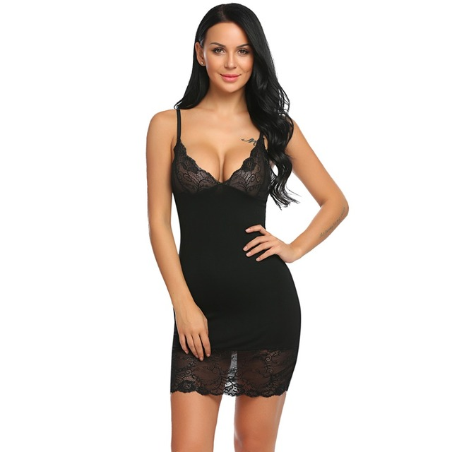 59a3d8180 Aidlove Lace Sleepwear Dress Homewear Nightdress Sexy Lingerie Trimmed with  Sexy G-String Women Chemise Slip Home Clothing Women