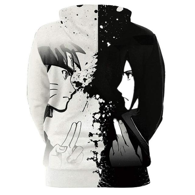 Naruto Black White Patchwork Hoodies