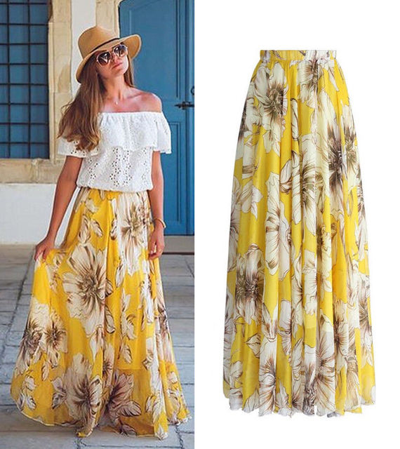 BOHO 2018  Fashion Womens Casual Floral Jersey Gypsy Long Maxi Full Skirt Summer Chiffon Beach Sun Long Skirts