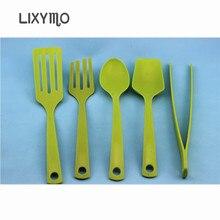 LIXYMO Cooking tools set Slotted Turner Pancake turner Largetongs Cooking Utensils Set Premium Spoon Spatula Soup Ladle 5pcs/set