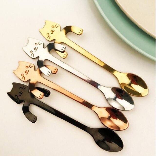 1pc Stainless Steel Cartoon Cat Spoons Creative Ice Cream Dessert Long Handle Coffee&tea Spoon Tableware Kitchen Tool 4 Colors