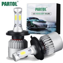 Partol S2 H4 H7 H11 H1 9005 9006 H3 9004 9007 9012 COB LED 헤드 라이트 72 와트 8000LM 자동차 헤드 라이트 전구 안개 빛 6500 천개 12 볼트
