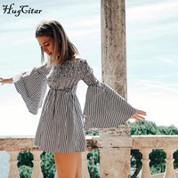 Hugcitar Off Shoulder Long Sleeve Dress Striped Mini Sexy Party Dress 2017 Autumn Double Layer Cuff