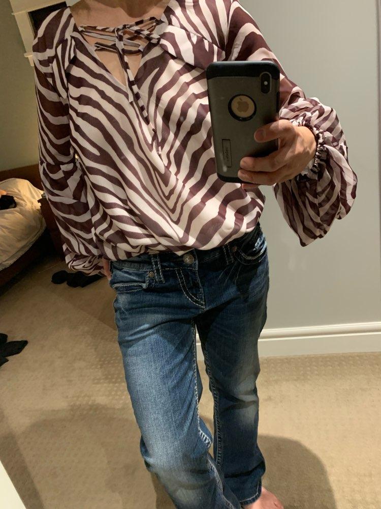 Women Blouse Shirt Zebra Stripe Print Summer Blouse Bell Long Sleeve Female Top Shirt Elegant Lace Ladies Blouse Retro photo review