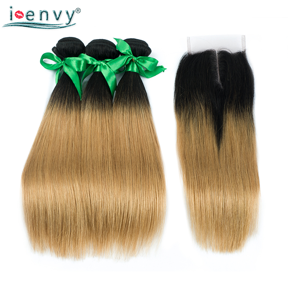 I-Envy Brazilian 3 Ombre Blonde Bundles With Closure Straight 1B 27 Hair Weave Bundles With Closure Human Hair Dark Root Nonremy