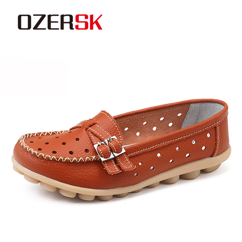OZERSK Soft Genuine Leather Hollow Shoes Women Slip On Woman Loafers Moccasins Female Flats Casual Women's Buckle Boat Shoes цены онлайн