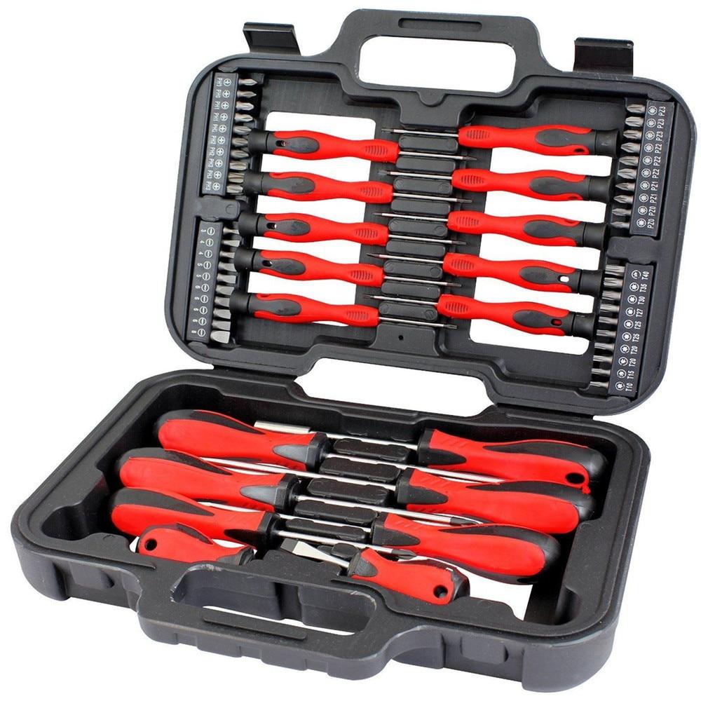 Julydream 58PC Screwdriver & Bit Set Precision Slotted Torx  Tool Kit Mechanics Hand Tool Set