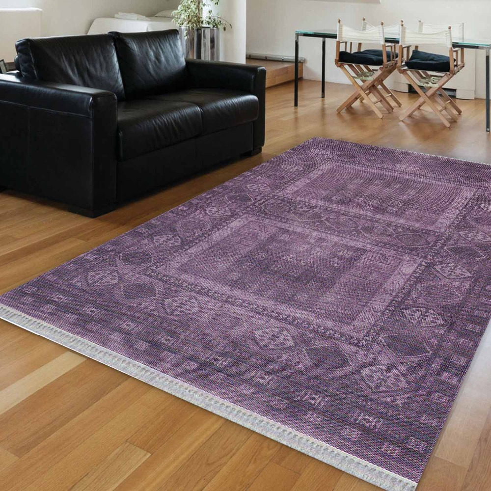 Else Purple Authentic Ottoman Vintage Ethnic 3d Print Anti Slip Kilim Washable Decorative Kilim Area Rug Bohemian Carpet