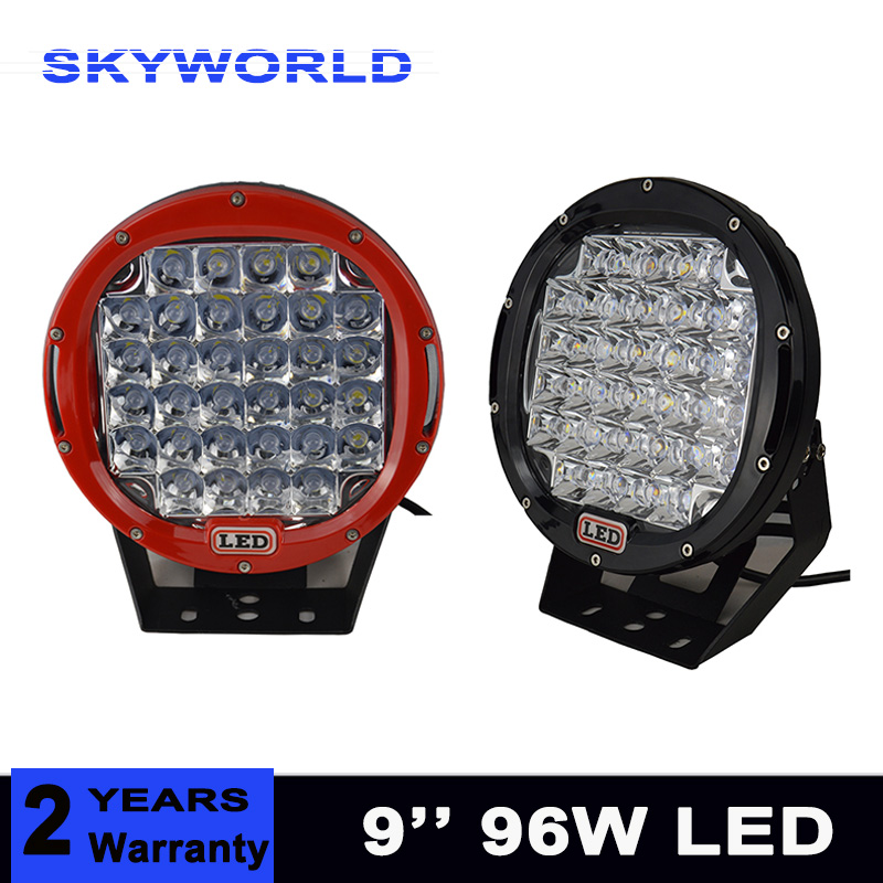 2pcs 9 inch LED Work Light Bar 96W Driving Work Lamp 12V 24V Spot Flood For 4WD 4x4 Truck Trailer SUV Offroad Boat ATV