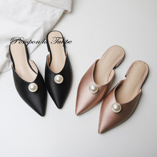 BHS 901167 Chic Silk Pearl 2CM Heels Mules Slipper Genuine Leather Stylish Sandals Sheepskin Fashion Women Shoes Party Wedding