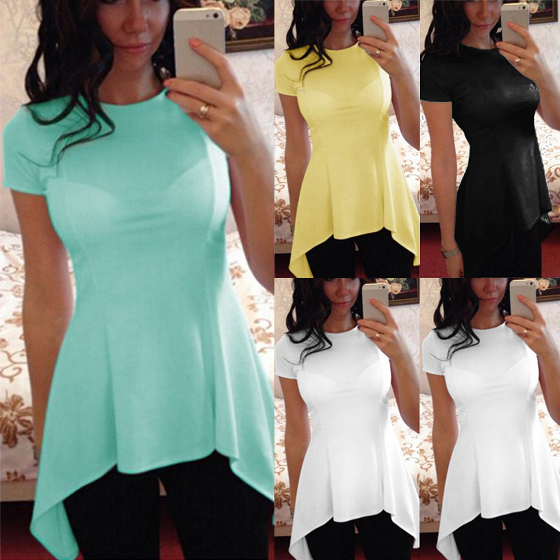 9 Color 2018 Summer Tunic Peplum Top Women Blouse Ladies Clothes Short Sleeve Blusa Sexy Slim Casual Asymmetric Shirts Oversized