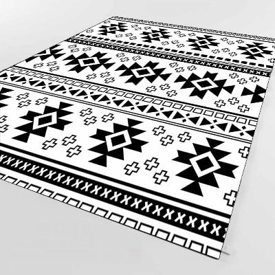 Else Authentic Aztec Black White Geometric 3d Print Non Slip Microfiber Living Room Decorative Modern Washable Area Rug Mat