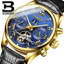 Швейцария Лидирующий бренд часы Новинка 2017 года БИНГЕР часы Мужчины автоматические механические часы кожаный ремешок золотые наручные часы 3ATM B-8602