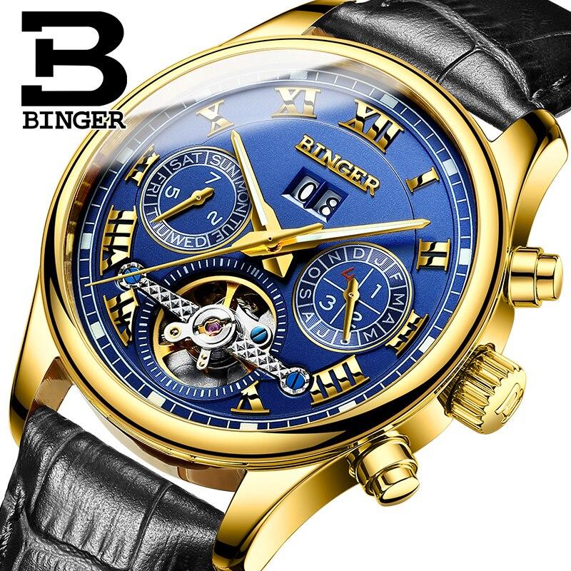 Parimad brändikellad 2017 Uus BINGER Tourbillon Clock meeste automaatne mehaaniline käekell nahast rihm kuld käekellad 3atm B-8602