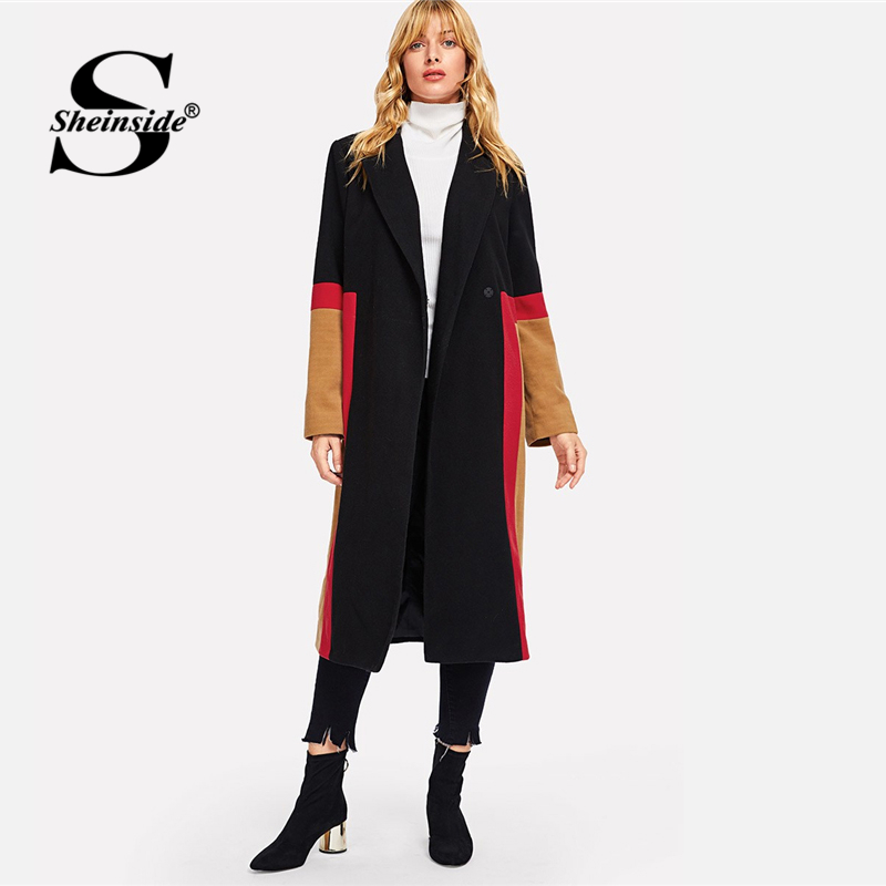 Sheinside Women Long Woolen Coat Female Outwear Jacket Casual Autumn Elegant Overcoat 2018 Color Block Button