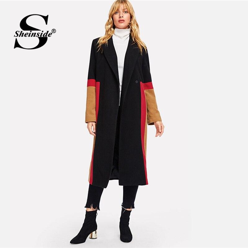 Sheinside для женщин длинное шерстяное пальто Женская Верхняя одежда Куртка повседневное осень элегантный 2018 Цвет Блок Кнопка вырезан