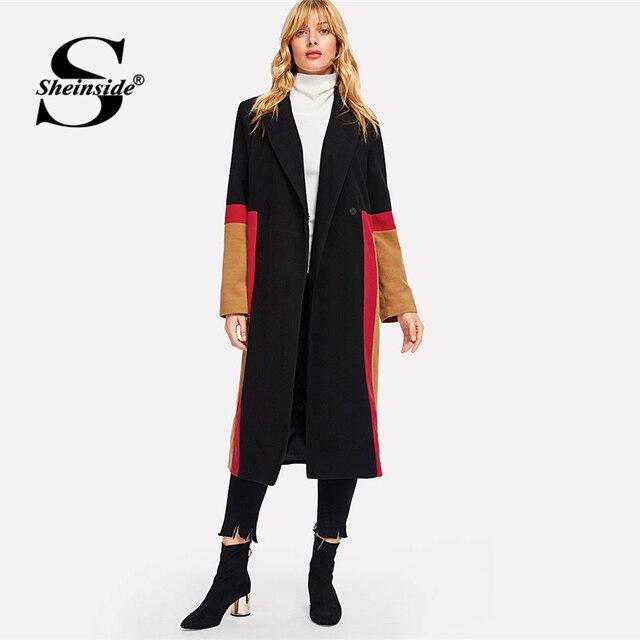 4cc2699f41 Sheinside Women Long Woolen Coat Female Outwear Jacket Casual Autumn  Elegant Overcoat 2018 Color Block Button Notched Neck Coats