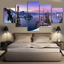 Wall Art Canvas HD Printed Pictures 5 Pieces Winter Snow Mountain And Lake Combined Landscape Poster Home Decor Framework
