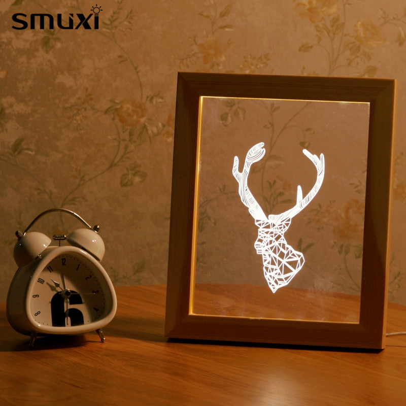 Mrosaa Led Night Light Wooden Frame 3D Animal Deer Head Shape USB Festival Holiday Lamp  ...