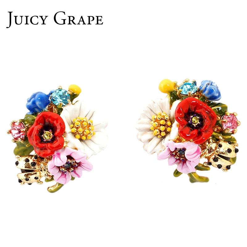 Juicy szőlő divat high-end zománc mázas virág sorozat katicabogár fülbevaló ezüst tű virág fülbevaló nők ékszerek  t