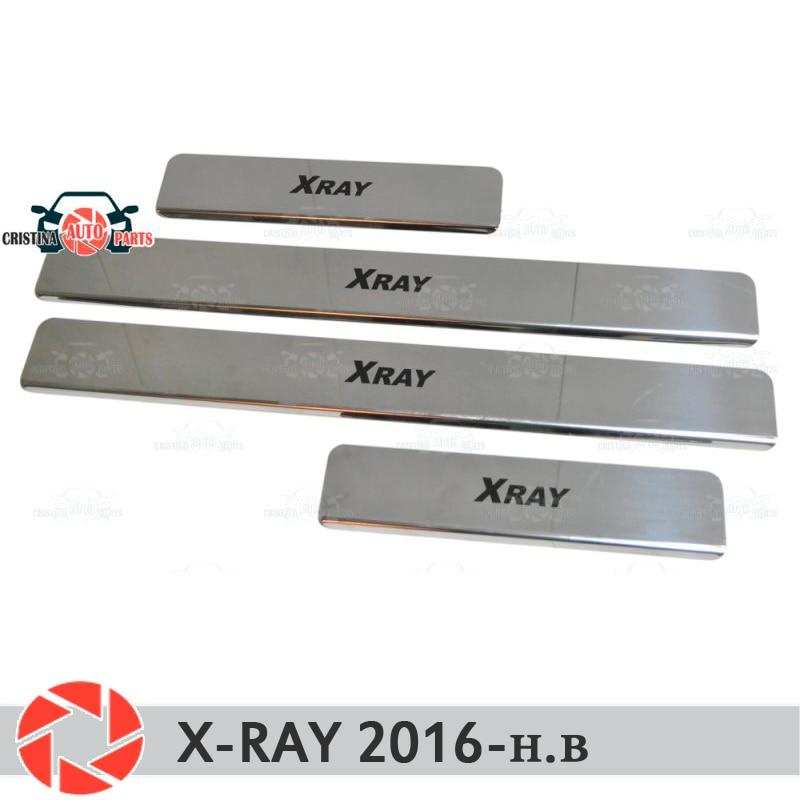 Para Lada X-Ray 2016-soleiras de porta passo placa painel protectection styling car decoração de interiores moldagem painel da porta