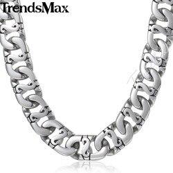 Trendsmax байкер Мужские длинные цепочки и ожерелья 316L Нержавеющая сталь цепи модные украшения HN01