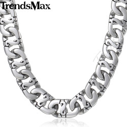 Trendsmax Biker Mens Long Necklace 316L Stainless Steel Chain Fashion Jewelry HN01