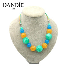 Dandie White Imitation Yellow Blue Bead Necklace For Women, Fashionable Popular Simple Design Jewelries