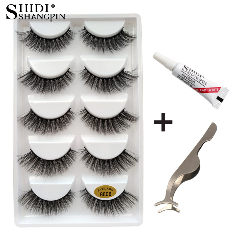 Natrual 3D Mink False Eyelashes Kit, Eyelashes Glue,lashes Tweezers,3d Mink Fasle Lashes Natrual 5pairs Faux Cils Makeup Cilios