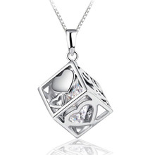 Hot Sale Love Hearts Hollow Square Pendant Female Fashion Silver-plated Jewelry DIY Accessories NL-0832