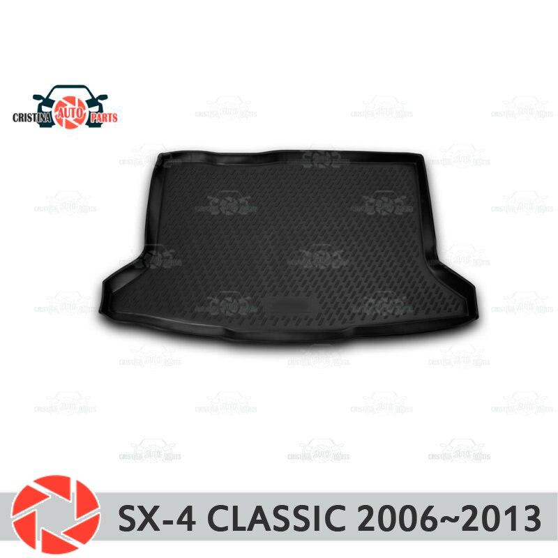 Mat tronco para Suzuki SX4 clásico 2006 ~ 2013 maletero alfombras de piso antideslizante poliuretano tierra Protección interior del maletero de coche estilo