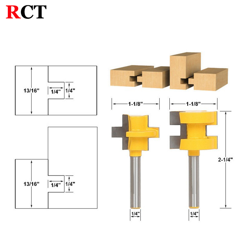 2pc Mini Tongue & Groove Router Bit Set - 1/4 Shank Line knife Woodworking cutter Tenon Cutter for Woodworking Tools RCT 15382 6pc 1 4 shank high quality round over router bit set 1 2 3 8 5 16 1 4 1 8 radius tenon cutter for woodworking tools