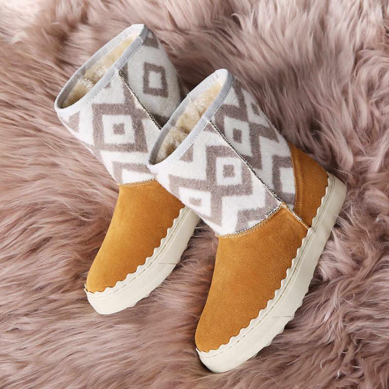 PINSEN Yeni Stil Sıcak Satış Süet Deri Moda Kızlar Orta Buzağı Kış Kar Botları Kadınlar Için Sıcak Kış Ayakkabı ücretsiz Kargo