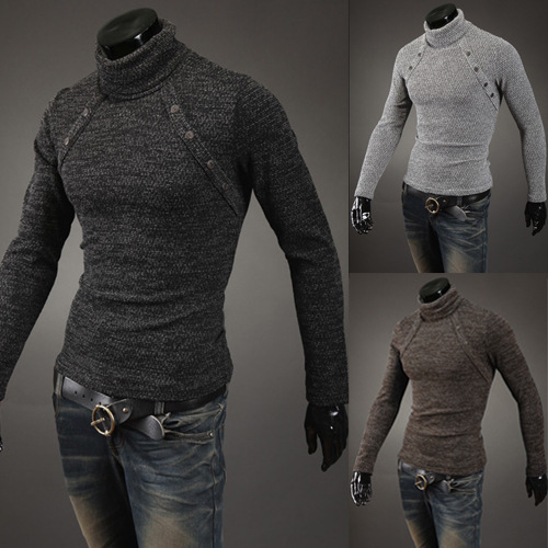 New Mens eight buckle design polo sweater