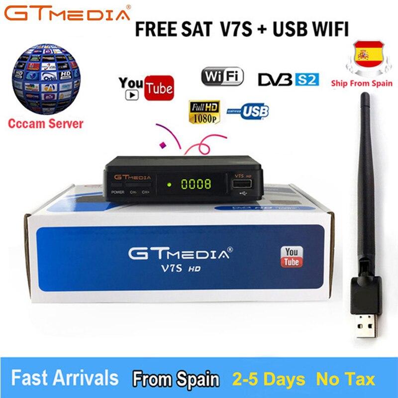 Vente chaude Satellite TV Récepteur Gtmedia V7S HD Récepteur Complet HD1080P + USB WIFI Biss key DVB-S2 Satellite Décodeur Freesat v7 HD