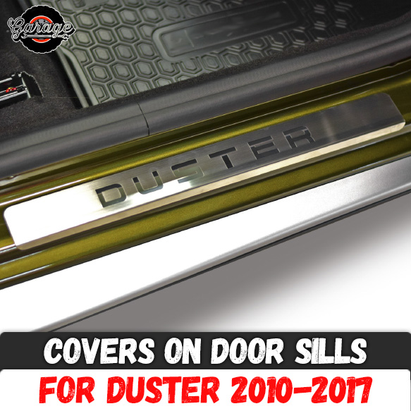Guard covers on door sills for Renault Dacia Duster 2010 2017 Stainless steel accessories interior molding