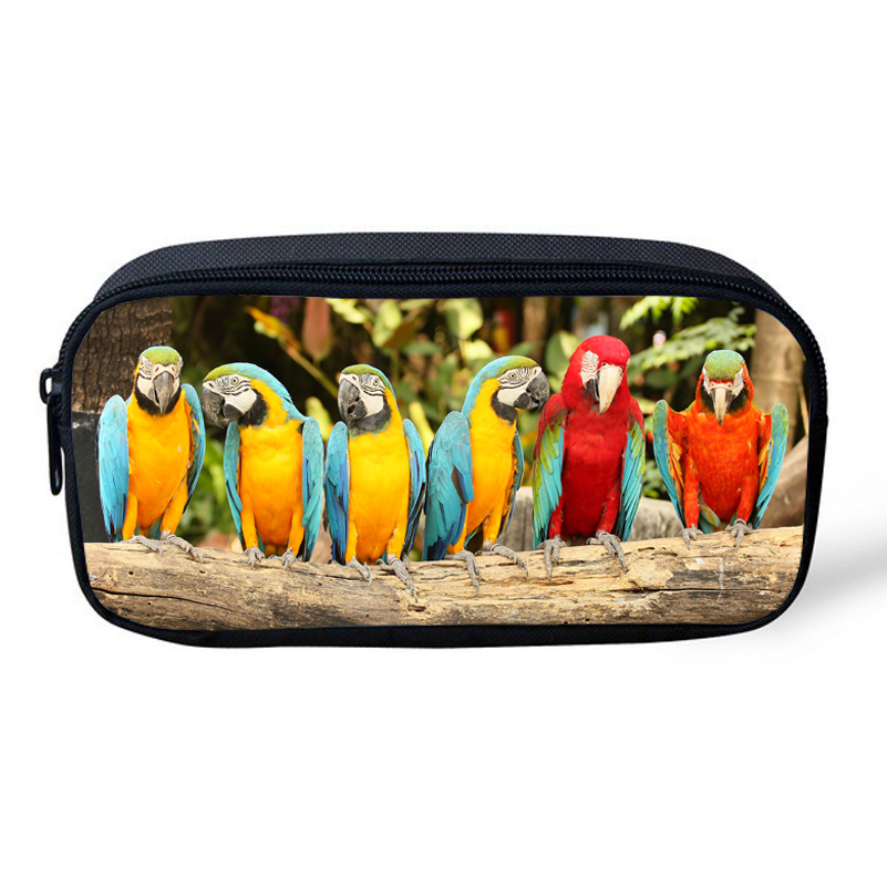 2017 New Style Cosmetic Cases Animal Character Bag Cute Parrot Print  Bag For Kids Boys Girls