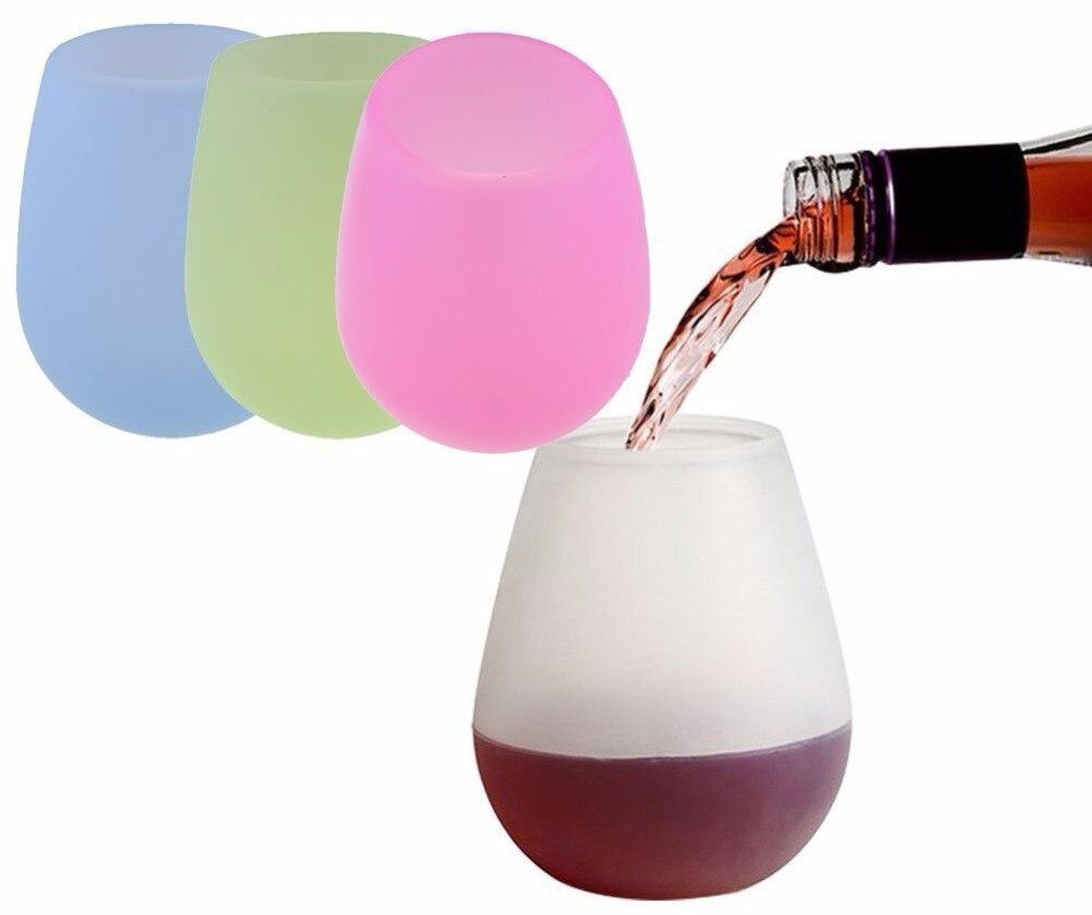 DEWEL 4 pièces Silicone Verre de Vin En Plein Air Tasse pour L'eau Potable Bière Whisky Verre À Vin Incassables 12 oz