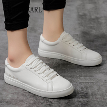 цена на Women Sneakers White Shoes Platform Casual Shoes Woman Flats Lace Up Round Toe Spring Autumn Loafers For Female Plus Size DE