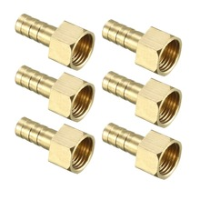 UXCEL 6Pcs Barb Hose Fitting Brass Connector Adapter 6/8/10/12mm Barbed x 1/4 PT,1/8 PT Female Pipe for Air Water Fuel Oil pipe fitting copper 6 12mm air gas fuel line shutoff valve hose barb inline brass water oil pipe fittings