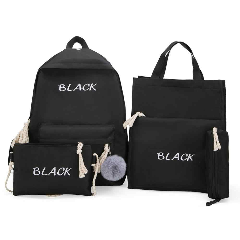 4pcs/Set Women Backpacks Set Canvas Letter Teenager School Rucksack Casual Style Women Knapsack Pen Bags sac a dos femme Mochila