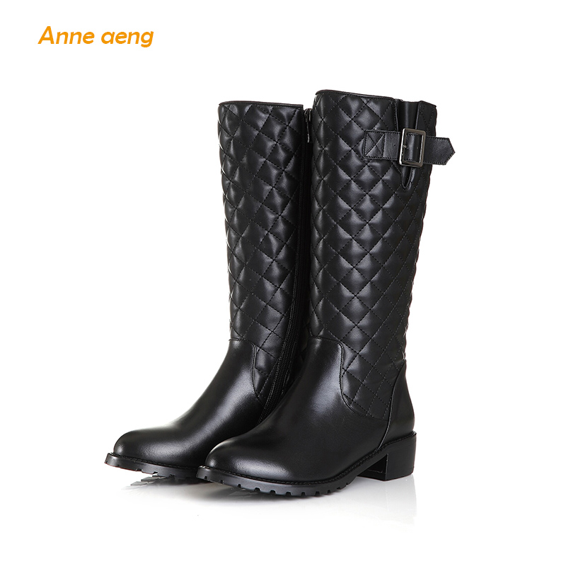 Anne Aeng Mid-Calf women's shoes Warm winter boots Classic Hot Free Shipping Genuine Leather Zip Round Toe Sewing Buckle chequer 2017 latest men s mid calf boots genuine leather buckle strap round toe men s leather shoes chakku motorcycle boots